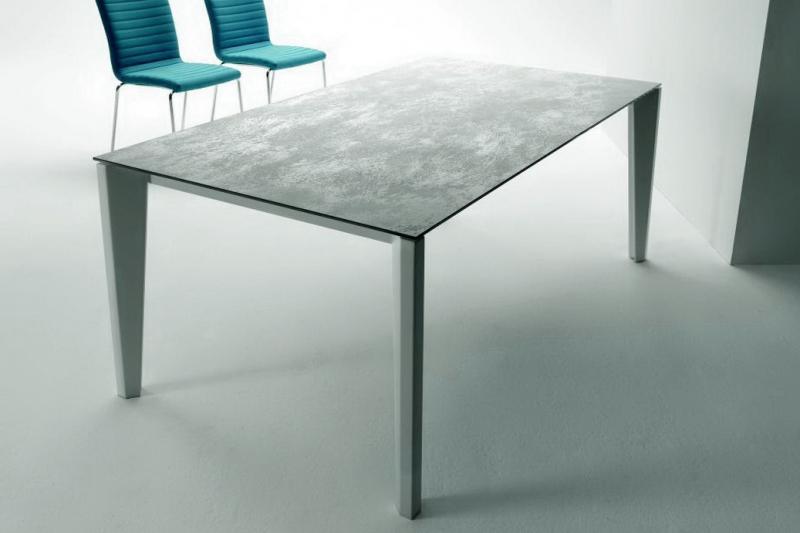 Стол MIDJ - модель DIAMANTE 140(+50) х 90 ceramic Piombo/Emperador