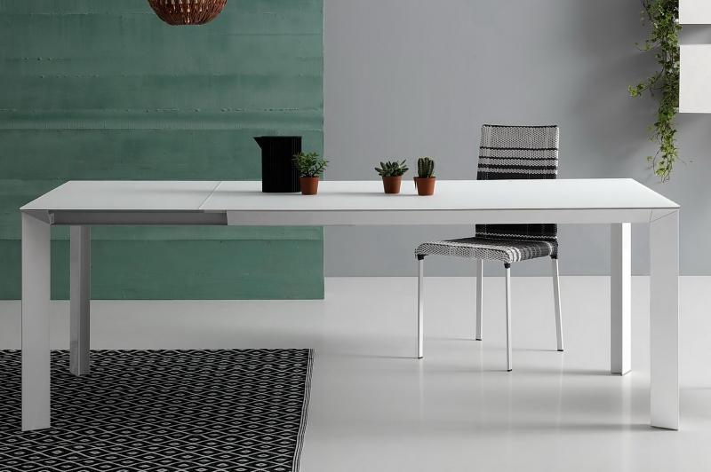 Стол Pointhouse - модель DIAMANTE 140(+60) x 90 vetro Bianco opaco