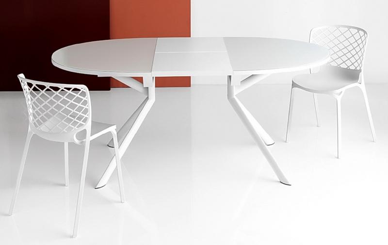 Стол CONNUBIA/Calligaris - модель GIOVE OVALE 140(+50) x 100  стекло Frosted White