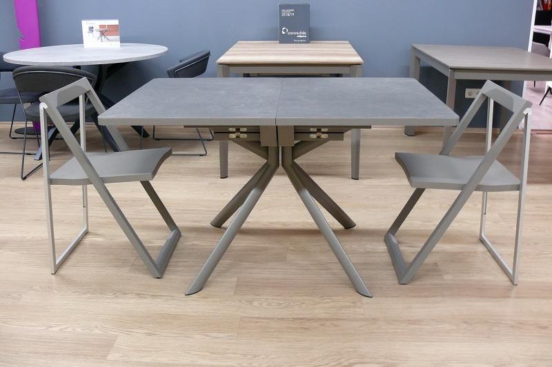 Стол прямоугольный CONNUBIA/Calligaris -  GIOVE-R 130(+50) x 90 ceramic LEAD GREY