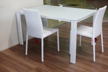 Стол MIDJ - модель BADU 140(+60) х 90 стекло Antigraffio Bianco