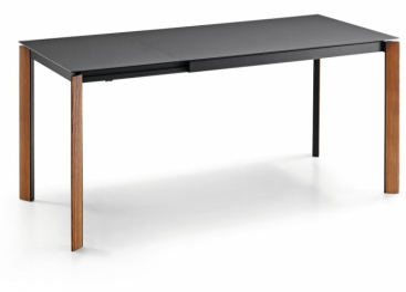 Стол MIDJ - BLADE 140 (+60) x 90 Noce Fiammato/FENIX NTM® Nero