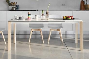 Стол MIDJ - BLADE 140 (+60) x 90 Ceramic OXIDE BIANCO/Frassino Naturale