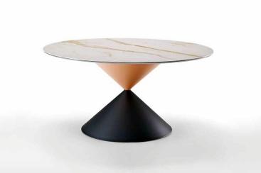 Стол круглый MIDJ - модель CLESSIDRA Сeramica Marmo Calacatta Ø150