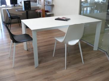 Стол Pointhouse - модель DIAMANTE 160(+60) х 90 Ceramic Oxide Bianco