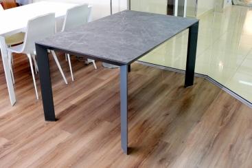 Стол POINTHOUSE - модель DIAMANTE 140(+60) x 90 Laminato CLEAF Marmo Grigio