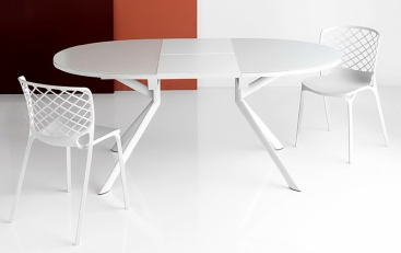 Стол CONNUBIA/Calligaris - модель GIOVE OVALE 140(+50) x 100  стекло Frosted White
