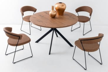 Стол CONNUBIA/Calligaris - модель GIOVE Wood Ø120 +45 (165x120) Tobacco Oak