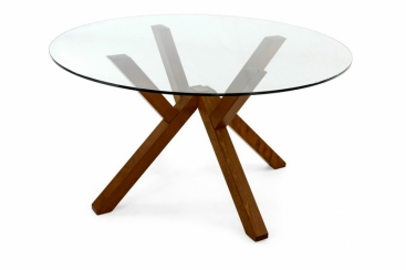 Стол CONNUBIA/Calligaris - модель MIKADO Ø120  Орех/Прозрачное стекло