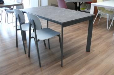 Стол POINTHOUSE - модель ZEN Plus 140(+40) x 80 Laminato CLEAF Marmo Grigio