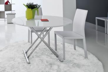 Стол-трансформер COM.P.AR - модель SIMPLE Round Ø120 х 83 Bianco Lucido