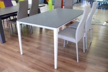 Стол POINTHOUSE - модель FUSION 160(+60) х 90  FENIX NTM® - Bianco/Grigio Opaco