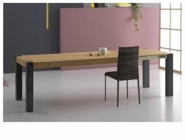 Стол POINTHOUSE - модель TOLA 140 (+40+40) x 90 Metal/Rovere Naturale